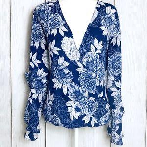 INC White & Blue Semi Sheer Floral Ruffle Blouse